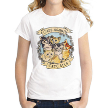 LUSLOS  Cats Against Catcalls Womens T-Shirt Cute Animal Casual Cotton O Neck Short Sleeve