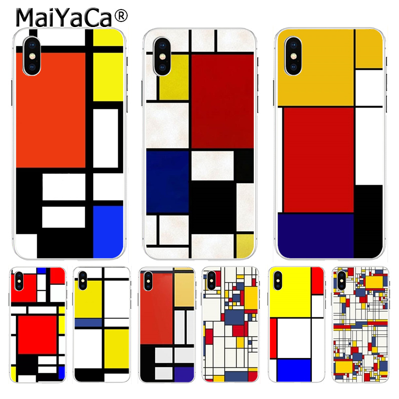 MaiYaCa mondrian art Soft TPU silicone Phone Accessories case for iPhone 8 7 6 6S Plus X XS max 10 5 5S SE XR Shell