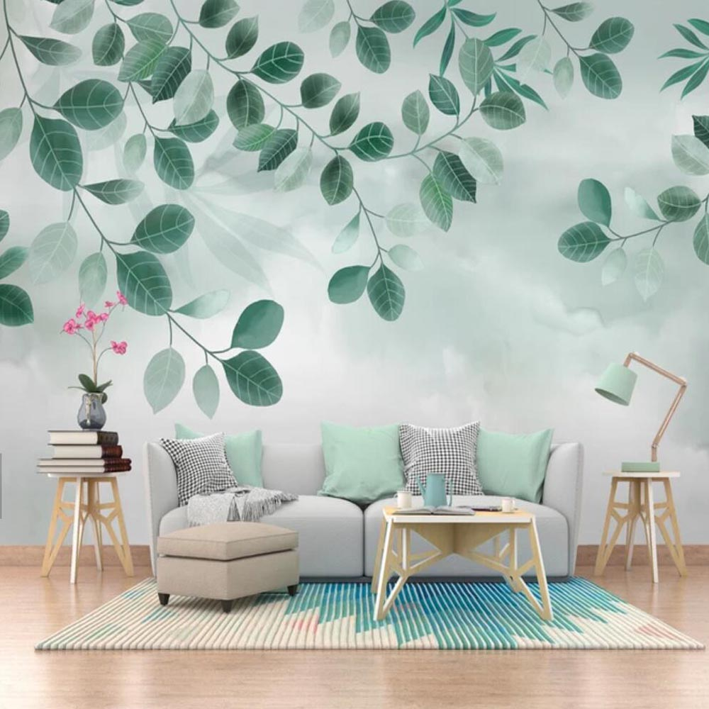 3D HD Photo Abstract Green Leaves Mural Wallpaper For