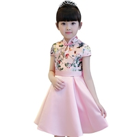 2017 Autumn Girls Embroidery Floral Dresses Kid Wedding Party Formal Chinese Style Prom Princess Dresses For