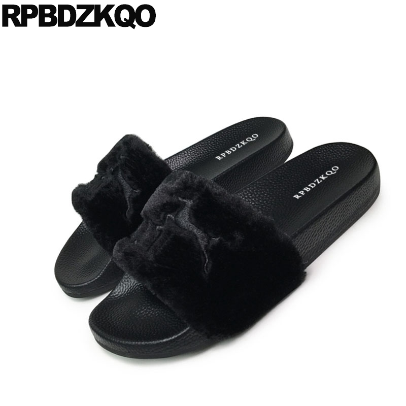 f5ce3214a36b Wide Fit Fluffy Soft Ladies Slides Embroidery Women Sandals Flat Casual  Furry Summer Fur Blue Black Spring Shoes 2018 Slip On-in Low Heels from  Shoes on ...