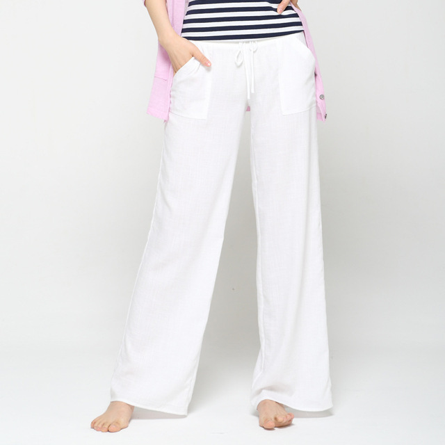 2d4a694b67c5 Large Jambe Pantalon Femmes Blanc Coton de Toile Plus La Taille Longue  Casual Cordon harem Pantalon