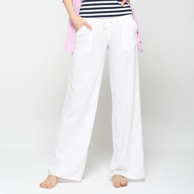6016d5d1159 Wide Leg Pants Women White Cotton Linen pants Plus Size Long Casual  Drawstring harem Trousers Loose summer pantalon femme