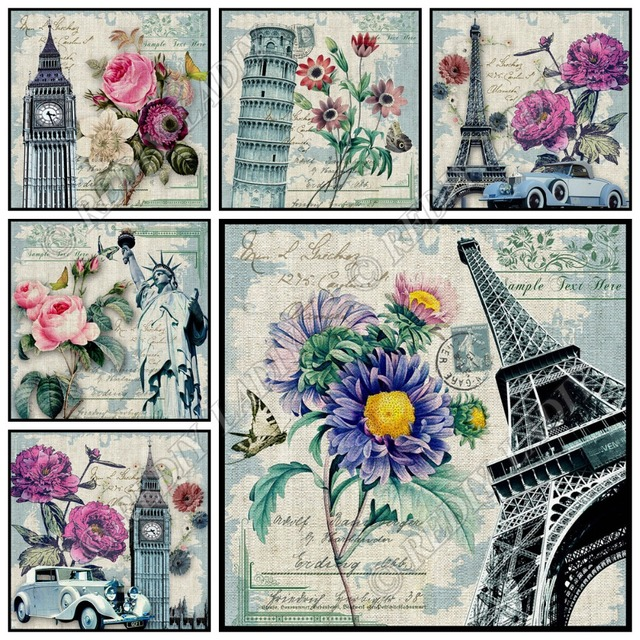 5D DIY Diamond Painting London Paris New York Full Square /  Round Diamond Mosaic Pattern Hobbies & Crafts Home Decoration Gifts