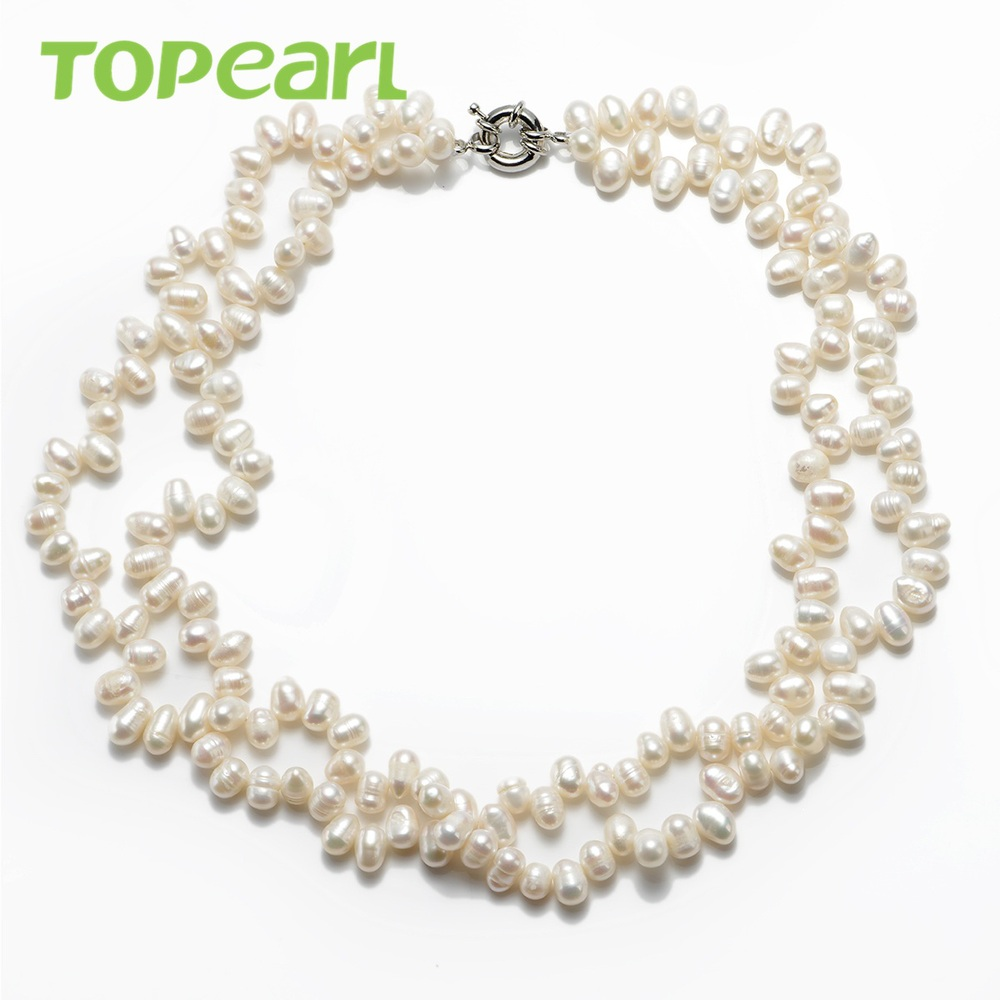 Topearl Jewelry 67mm White Freshwater Pearl Double Twist Necklace 18 Inch  Fn237(china