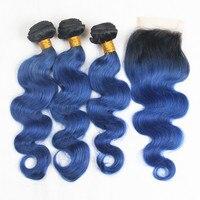 Riya Hair Ombre Peruvian Remy Hair Body Wave Weft 3/4 Bundles With 4*4 Lace Closure Bleached Knots 1b/Ocean/Blue Human Hair