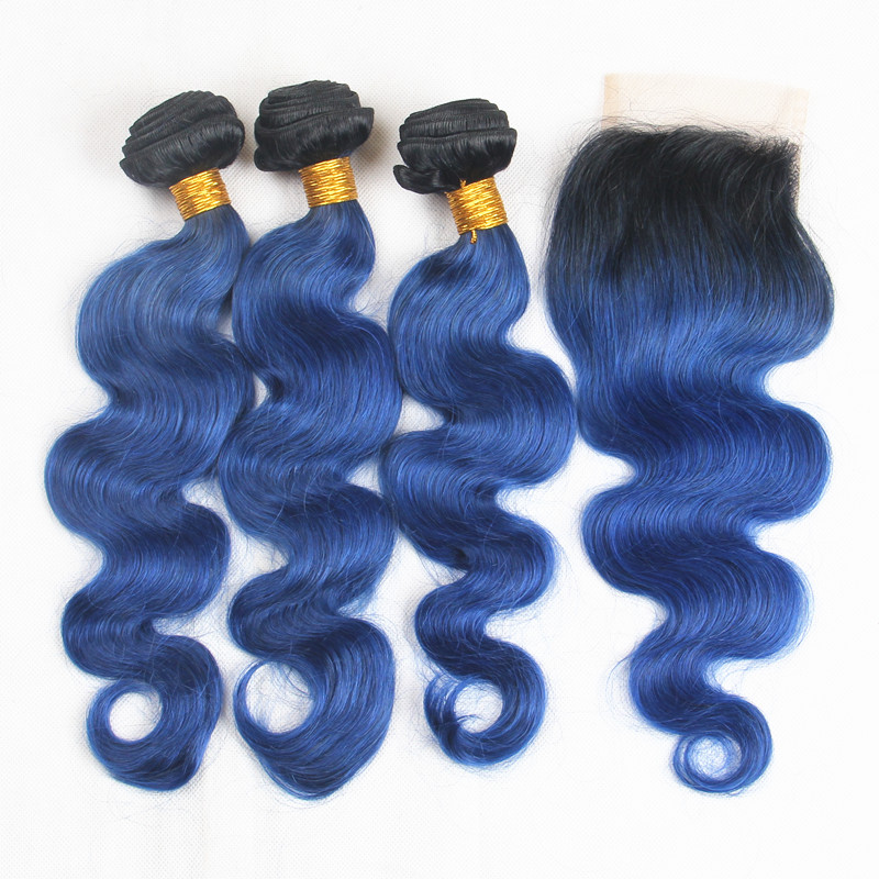 Riya Hair Ombre Preuvian Remy Hair Body Wave Weft 3/4 Bundles With 4*4 Lace Closure Bleached Knots 1b/Ocean/Blue Human Hair ...