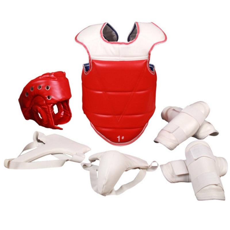 Taekwondo protecteur WTF 5 pièces/ensemble PU karaté équipement casque corps poitrine entrejambe équipement Judo Wesing garde uniforme avec sac