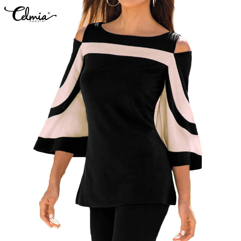 382f1067785a0 Celmia 2019 Spring Elegant Shirts Women Blouses Splice Sexy Off Shoulder  Flare Sleeve Casual Office Ladies