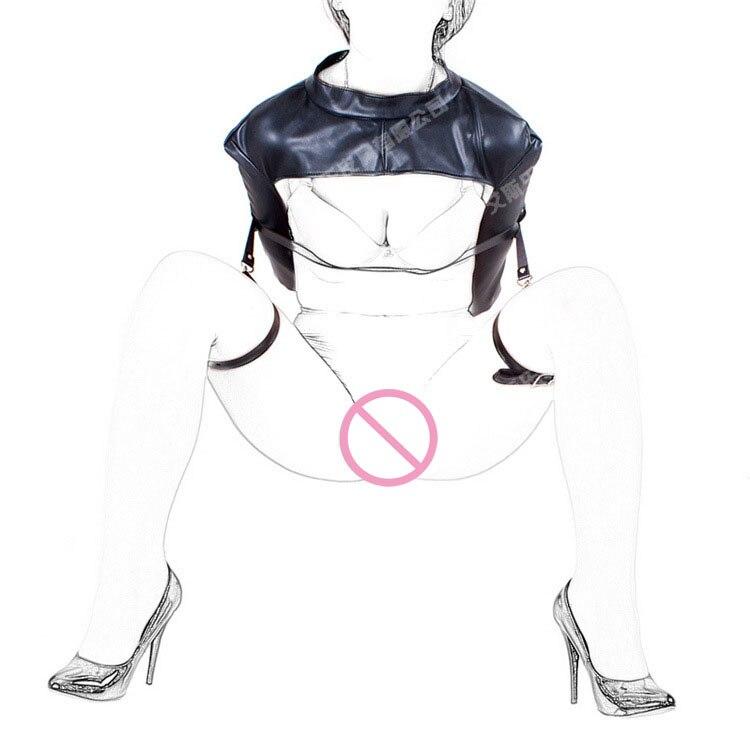 ФОТО New fashion open leg leather bondage ring belt expose breast hand arm restraints bags zipper clothes bdsm fetish wear for woman