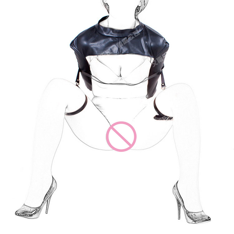 New fashion open leg leather bondage thigh ring belt expose breast hand arm restraints bags bdsm fetish wear for woman toys