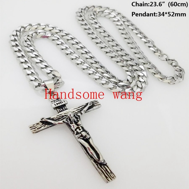 New High Quality 316L Stainless Steel Silver Punk Jesus&Cross Pendant With 55cm*6mm Curb Chain Charming Mens Jewelry Neckalce