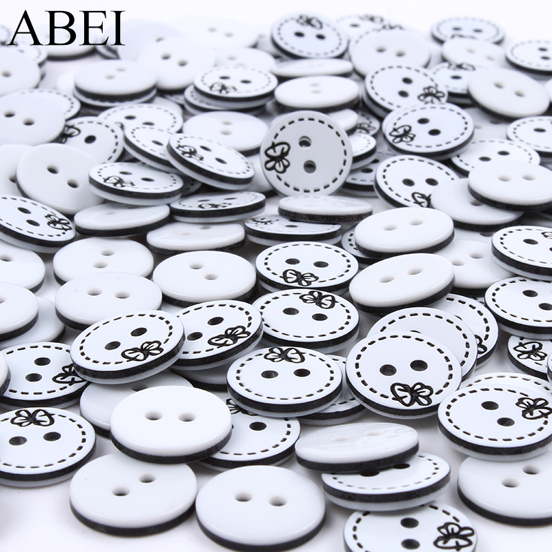 100pcs/lot 13mm Flower Round Buttons Resin 2-holes Flatback Butoon for Shirts Sweaters Sewing Garments Accessories DIY ornaments