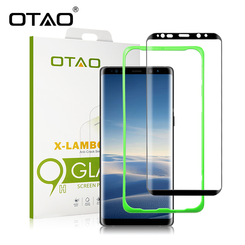 OTAO Case Friendly Tempered Glass Screen Protector for Samsung Galaxy Note 8 3D Full Cover Curved Installation Tray Positioner