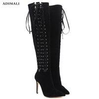 Обувь для девочек Размеры 34–43 женщина эластичность высокие трубы Для женщин Сапоги выше колена длинные черные пикантные