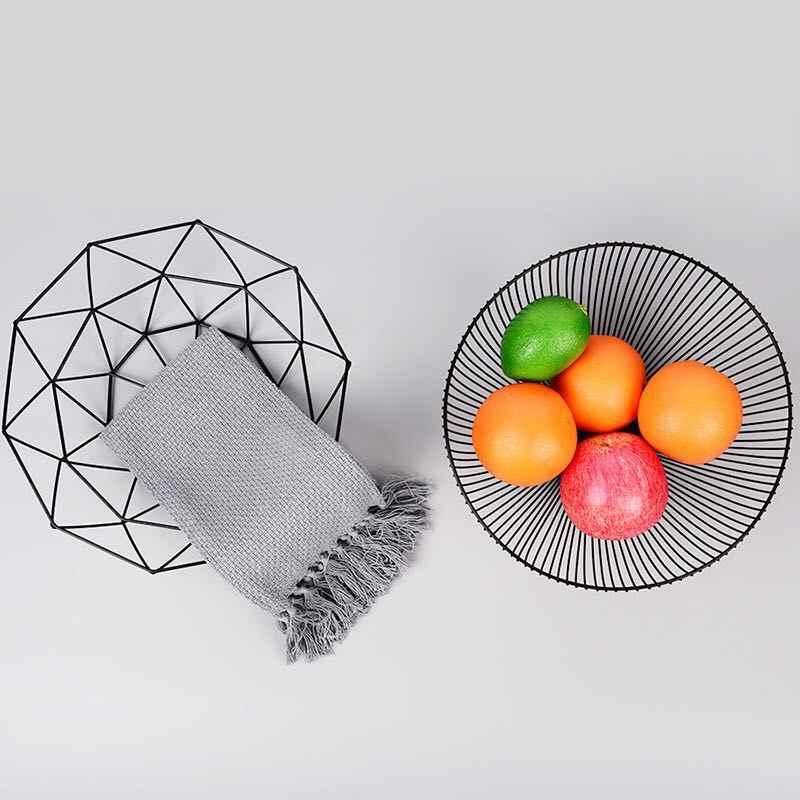 Estilo nórdico Ferro Arte Tigela de Frutas Cesta De Armazenamento Organizador Casa Para Vegetais Lanches Doces Cozinha Mesa de Jantar Decoração Ferramenta