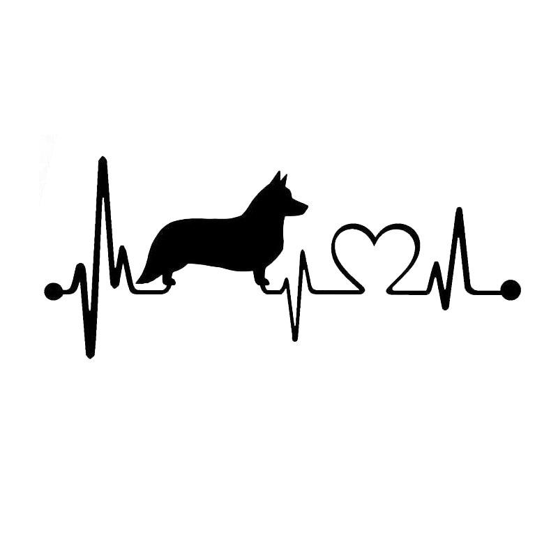 15.5*6.6CM Cardigan Welsh Corgi Dog Heartbeat Car Rear Windshield Decorative Sticker Cartoon Decals C6-1150