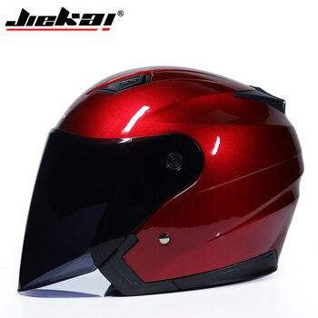 JIEKAI Motorcycle Helmets Electric Bicycle Helmet Open Face Dual Lens Visors Men Women Summer Scooter Motorbike Moto Bike Helmet 19