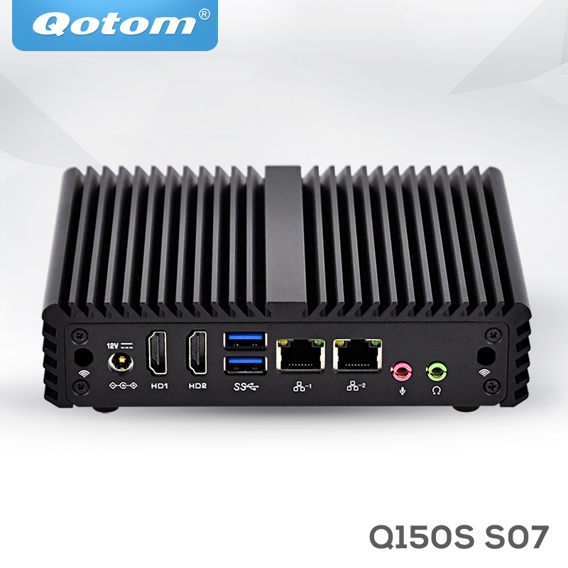 цена на QOTOM Mini Computer 2 Gigabit Ethernet Ports Q150S-S07 J3160 Quad Core AES-NI 6W ,6*USB X86 Small Fanless Firewall PC Router