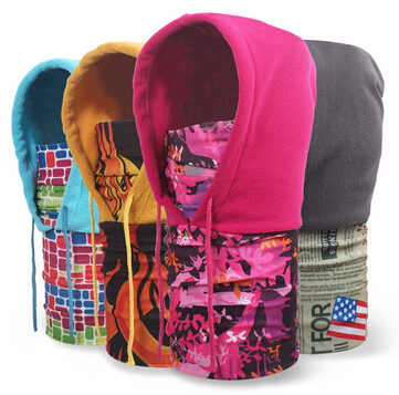 Free Shipping 2016 New Winter Mens Thermal Fleece Hood Ski Bike Winter Windproof Face Mask Floral Flame Beanie Caps Mens