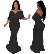 Women Elegant Solid Color Off Shoulder Deep V-Neck Dress 2019Elegant High Waist Floor-Length  Sleeve Party Club Dresses female