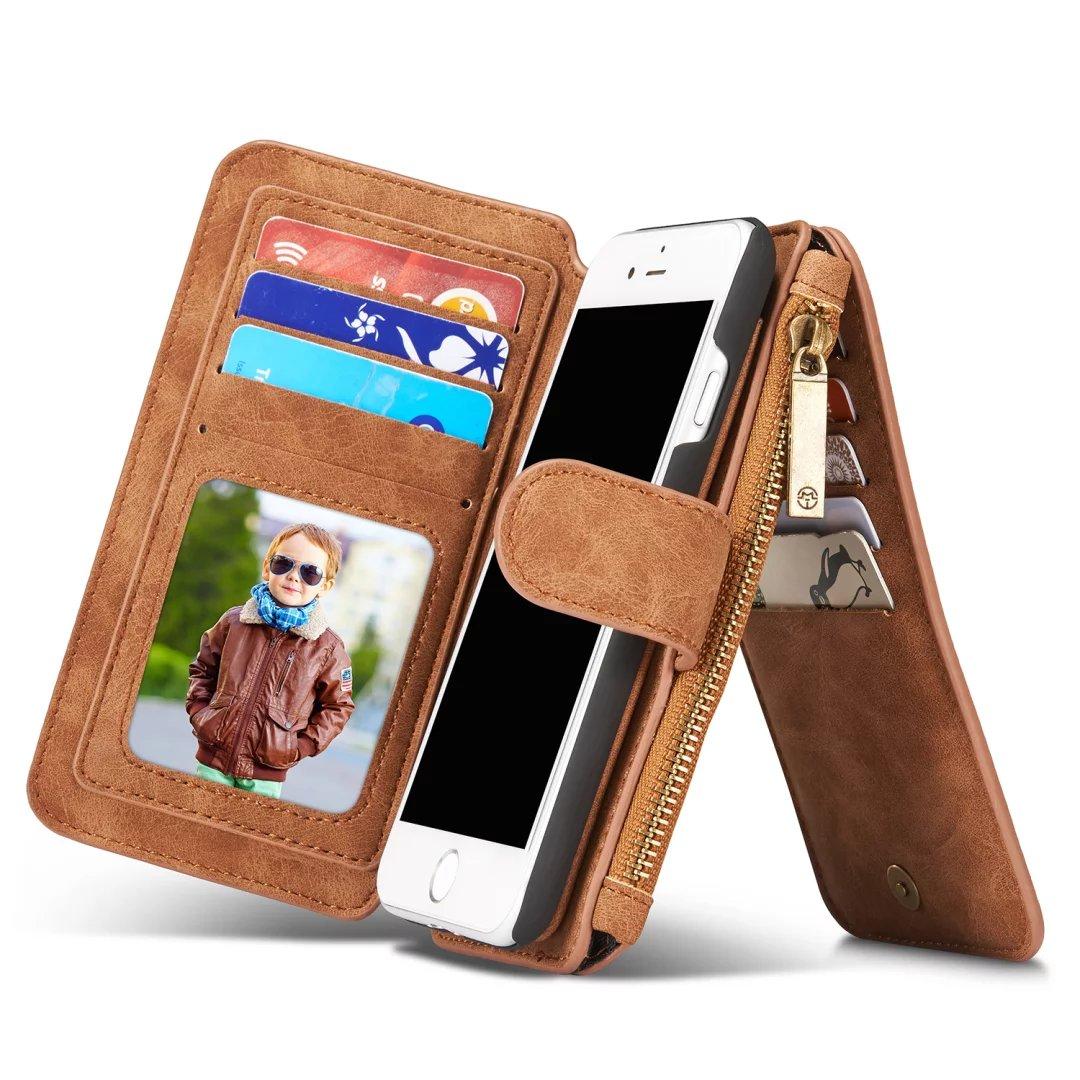 imágenes para Multifunción Caja de Cuero Genuino Para el iphone 7 7 Plus Cremallera bolso de La Bolsa Para El iphone5 SE 6 S Cajas Del Teléfono Bolso de La Señora cubierta
