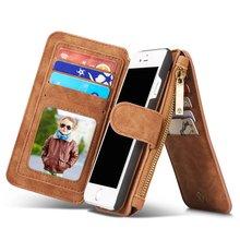 Многофункциональный бумажник натуральная кожа чехол для iPhone 7 7 плюс молния кошелек чехол для iPhone 5 SE 6 S телефон случаях леди сумочка Крышка
