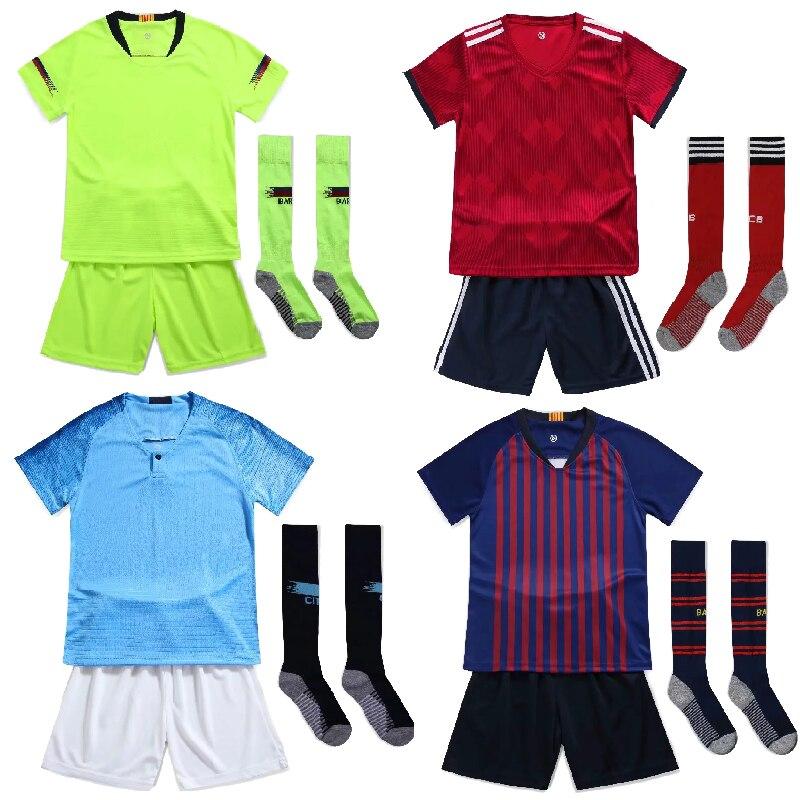 Football-Jerseys Uniform Customize Boys Kids Soccer-Sets Children 19 Free-Socks Training