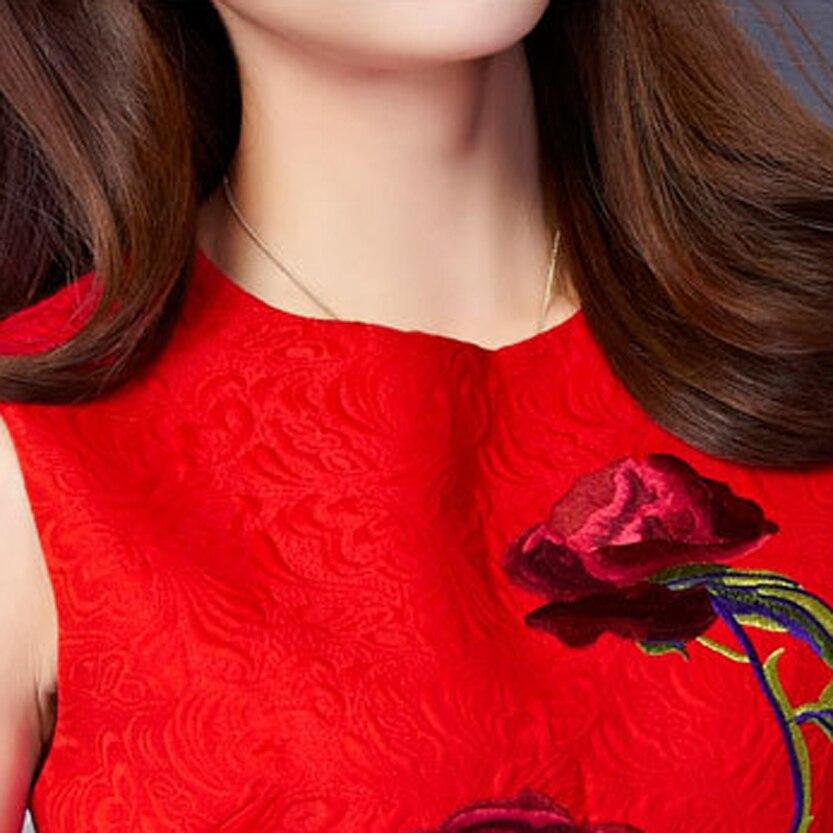 YuooMuoo Новый Женщины Dress Европейский Стиль Элегантной Розы Вышивка Dress A-Line Короткие Платья Партии Red Dress for Women