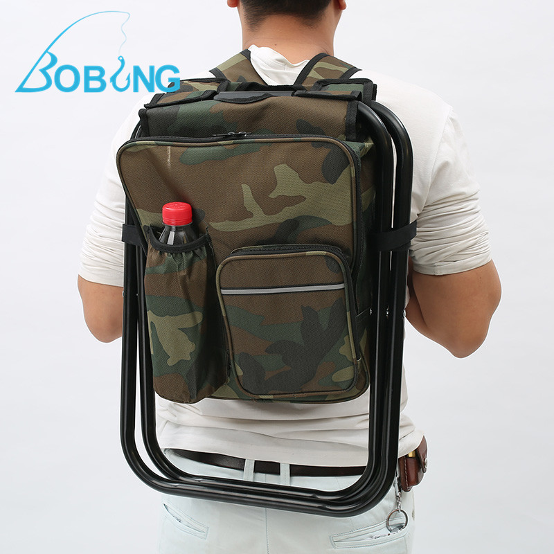 Bobing 3 In 1 Outdoor Portable Multifunctional Foldable Cooler Bag Chair Backpack Fishing Stool Chair Max Load 150KG/300LB seat oxford cloth lightweight 3 in 1 outdoor portable multifunctional foldable cooler bag chair backpack fishing stool chair