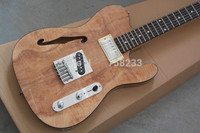 Top quality FDTL 2054 original wood color F hollow Ash body rosewood fretboard 6 strings electric Jazz Bass , Free shipping