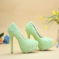 14cm super high heel platforms lace pumps shoes woman NQ039 green lace purple pink white lady bridal wedding pumps shoe