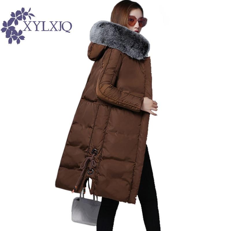 XYLXJQ 2017 New Winter Jacket Women Coat Thicken Warm Windproof Long Cotton-padded Jacket Female Hooded Parkas Fur Collar DQ109 мужская футболка gildan 100% lol 9364