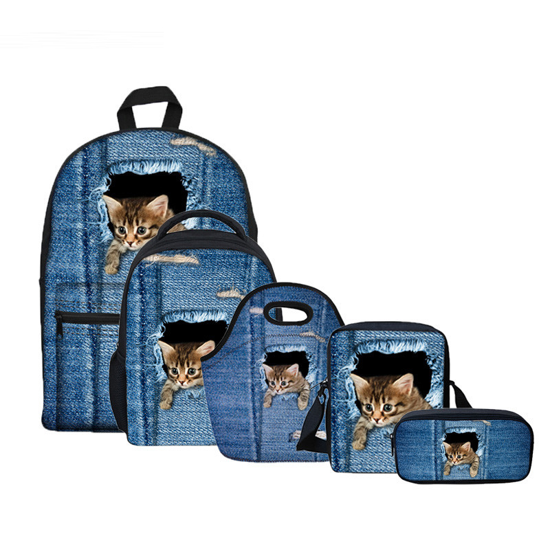 Backpack Sets 5Pcsset Denim Cat Pattern Schoolbag Student Back To School Backpack Teenager Girls Kindergarten Baby Kids Satchels
