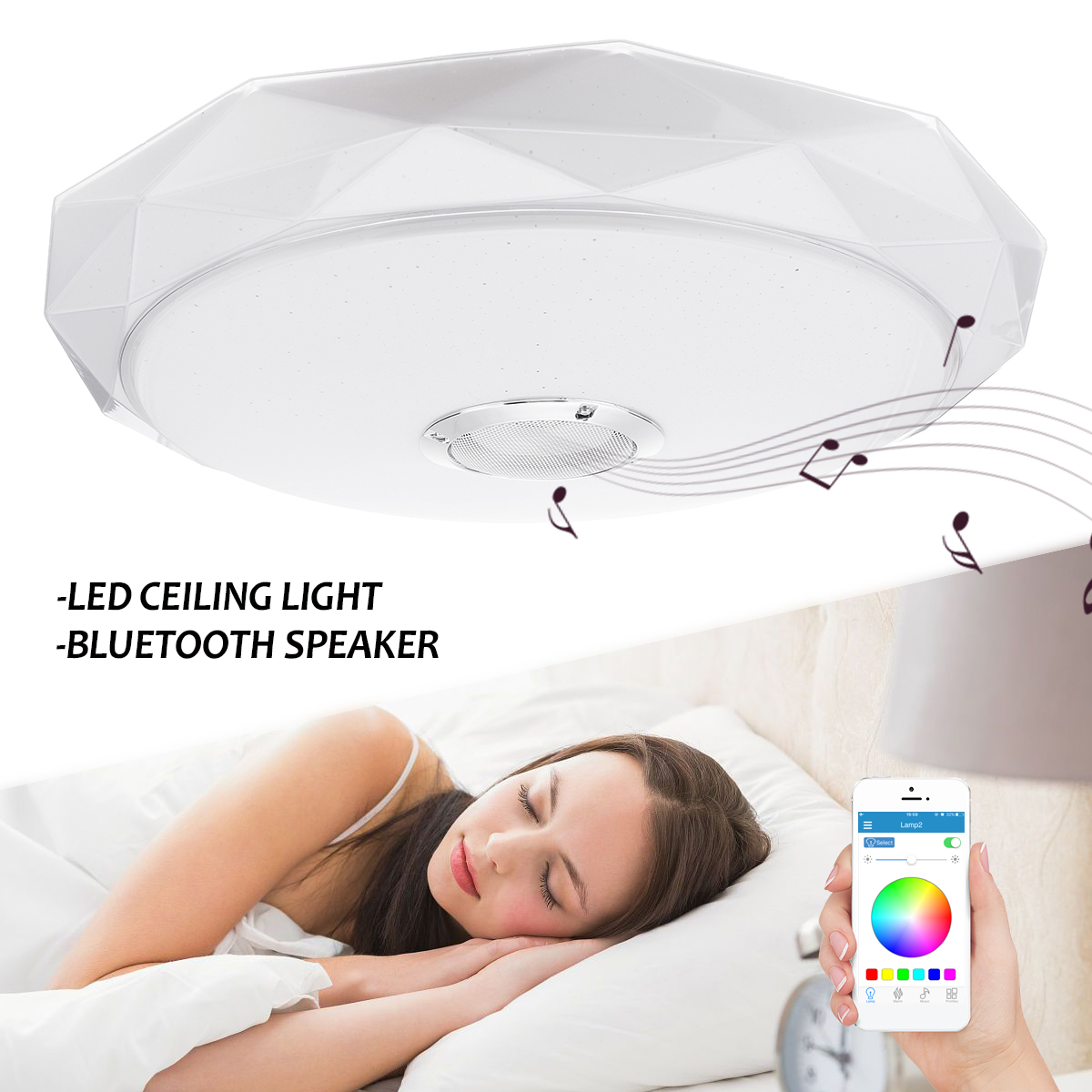 36W 50cm Modern RGB Dimmable APP Control LED Ceiling Light with Bluetooth Speaker Music Ceiling Lights Lamp Living Room Bedroom living with music