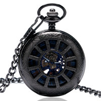 New Men S Mechanical Hand Winding Pocket Watch Skeleton Dial Classic Retro Style With Pendant Chain