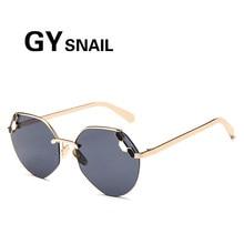 GYsnail Moda Sem Aro óculos de Sol Das Mulheres Designer De Marca Rodada Do  Vintage Óculos 0ce7e80428