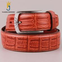 FAJARINA Quality First Head Layer Casual Crocodile Cow Skin Leather Retro Belts for Men Alloy Buckle Metal Belt Jeans N17FJ361