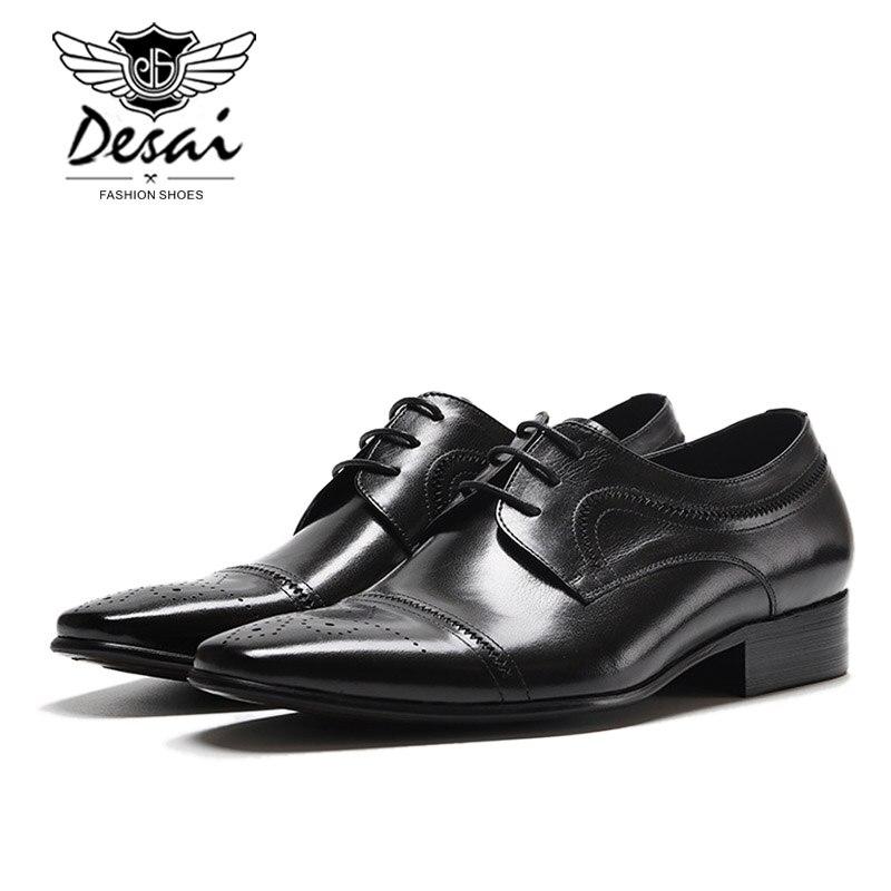Nouveau cuir véritable hommes britanniques pointus affaires robe chaussures Version européenne des chaussures de mariage hommes chaussures formelles à lacets-in Chaussures d'affaires from Chaussures    3