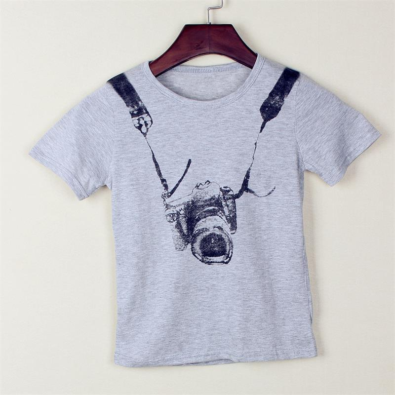 Hooyi Fashion Camera Print Boys T-Shirts Brand New Children Clothes 100%  Cotton Boys Tees Shirts Grey Short Kids T Shirt Hot a6c2d863794f