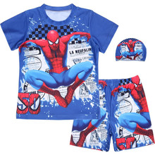 Boys Swimsuit Clothing Set Summer Boy Cartoon Spiderman T-shirts Shorts Hats Suit 3Pcs Childrens Sports Clothes