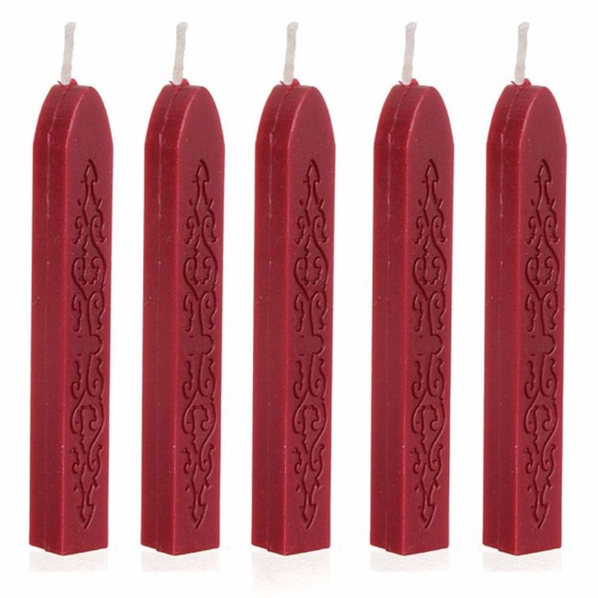 Hot Sale 5Pcs Wine Red Manuscript Sealing Seal Wax Sticks Wicks For Postage Letter Drop Shipping Ap818