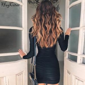 Image 5 - Hugcitar الساتان كم طويل الرقبة عالية الخصر bodycon مثير فستان قصير 2019 الخريف الشتاء النساء ملابس أنيقة للحفلات