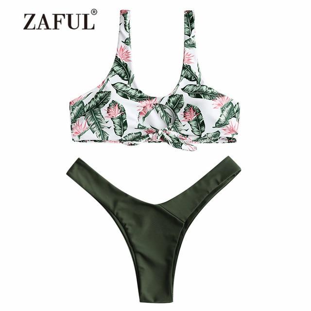 24e06dcf873 US $19.98 |ZAFUL Bikini Leaf Print Knotted Thong Bikini Women's Padded  Swimsuit Front Tied Swimwear Sexy U Neck Leaf Summer Swimming Suit-in  Bikinis ...