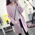 Kesebi New 2016 Autumn Winter Women V-neck Korean Thick Warm Long Loose Knit Sweaters Female Solid Color Long Sleeve Cardigans