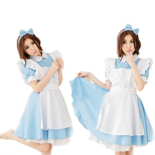 Mujeres cosplay maid dress + delantal + bowknot diadema de halloween fiesta de disfraces