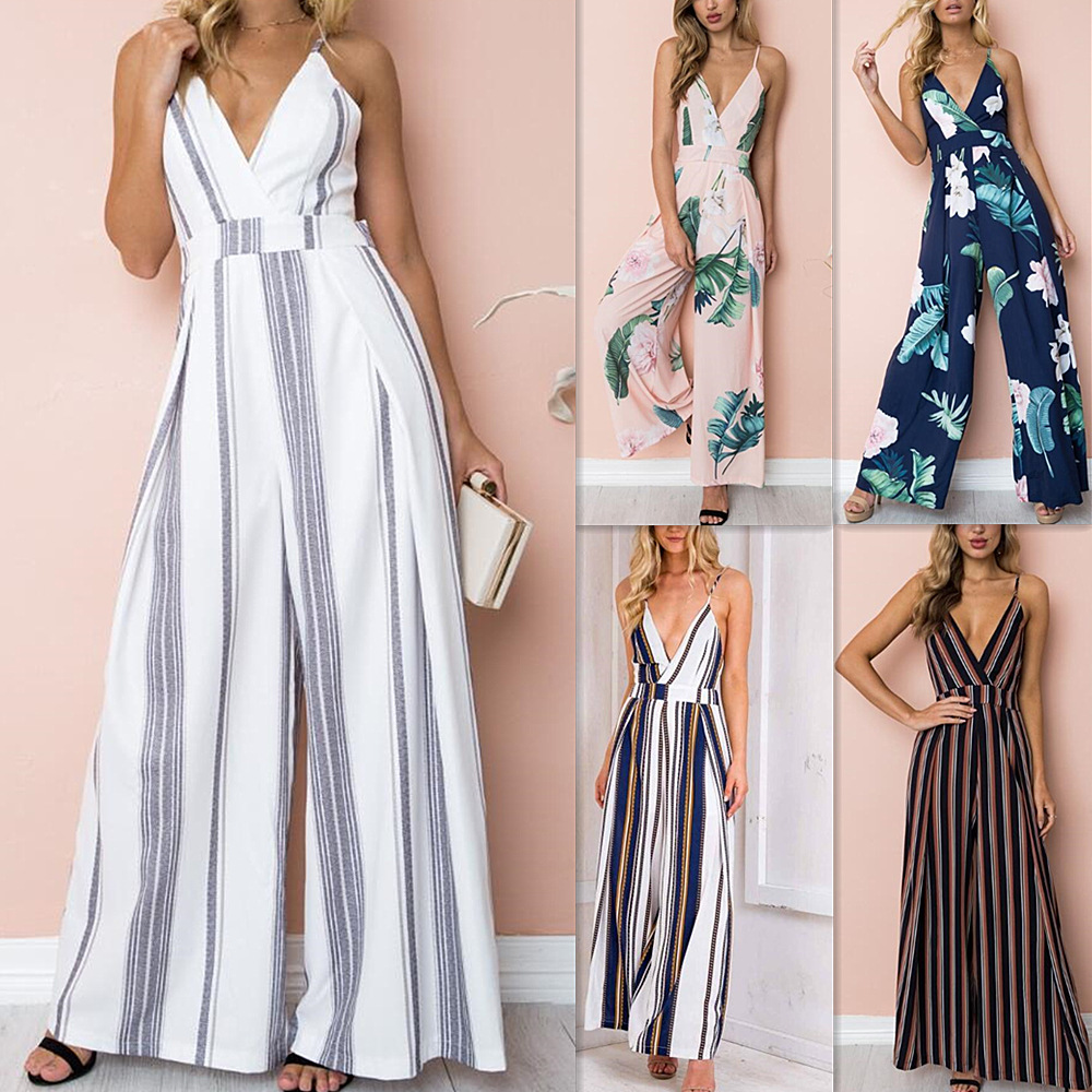 New Jumpsuit Summer Women 2019 Strap Sexy V-neck Halter Overalls Belt Hollow Casual Wide Leg Trousers Printing Women's Jumpsuit