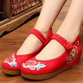 Vintage embroidery Pumps Women Floral Embroidered Canvas National Dance Old Beijing Single Shoes High Heel Size 34-41