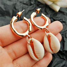 IF ME Fashion ZA 2019 Big Gold Cowrie Natural Sea Shell Earrings For Women Summer Shell Earring Dangle Drop Earrings Jewelry NEW(China)
