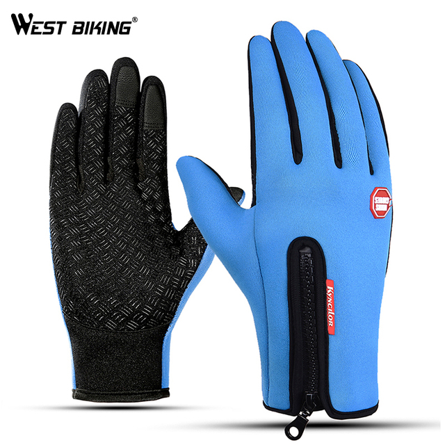 WEST BIKING Winter Warm Cycling Gloves Touch Screen Bicycle Gloves Outdoor Sports Anti-slip Windproof Bike Full Finger Gloves